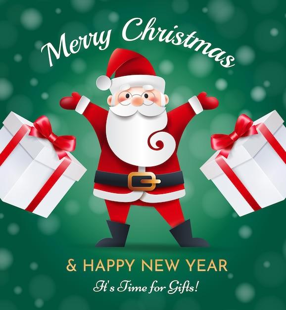 Lustiger weihnachtsmann mit geschenken auf einem grünen hintergrund. weihnachtsgrußkarte. Premium Vektoren