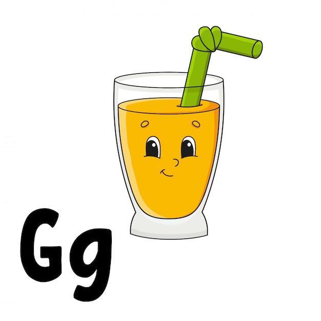 Lustiges alphabet. abc-karteikarten. cartoon niedlichen charakter isoliert. für kindererziehung Premium Vektoren