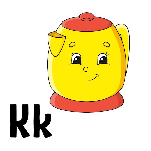 Lustiges alphabet. abc-karteikarten. cartoon niedlichen charakter isoliert Premium Vektoren