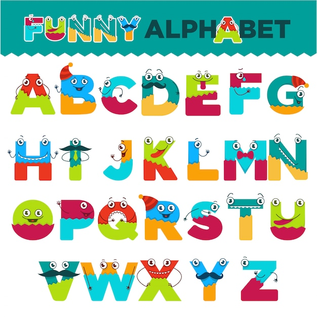 Lustiges alphabet von zeichentrickfilm-figuren vector gussbuchstaben von komischen monstergeschöpfgesichtern für kinderdesign Premium Vektoren