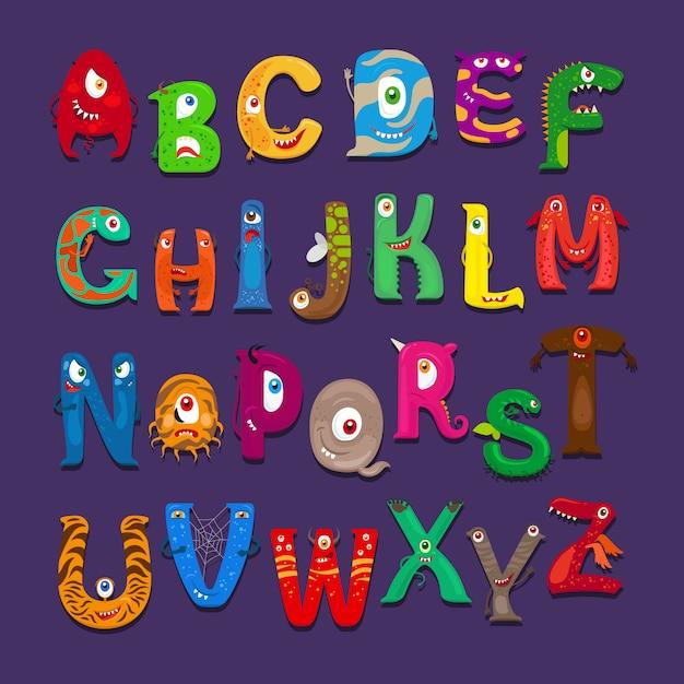 Lustiges alphabet Premium Vektoren