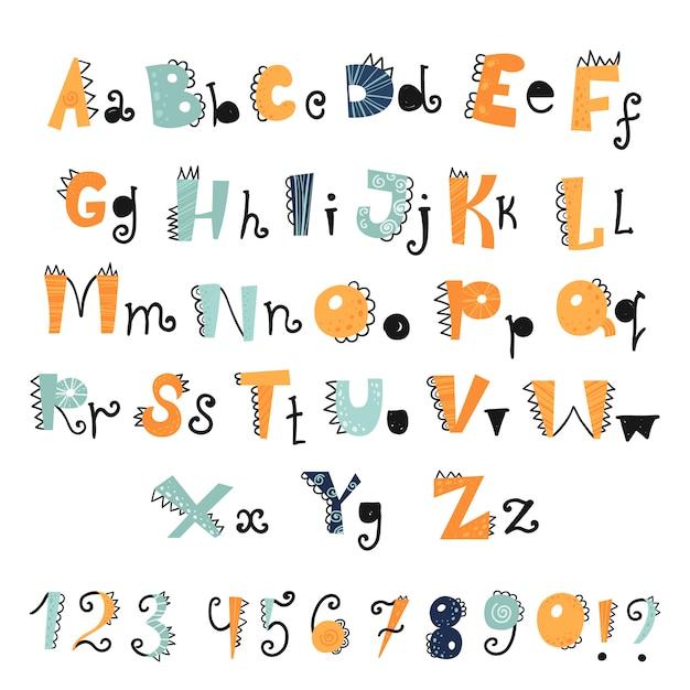 Lustiges dino-alphabet und zahlen Premium Vektoren