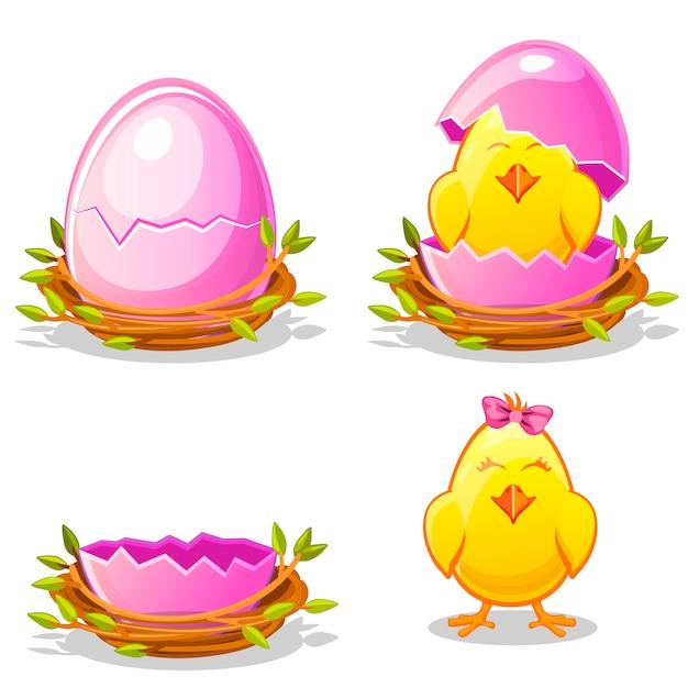 Lustiges huhn der karikatur und rosa ei in einem nest Premium Vektoren