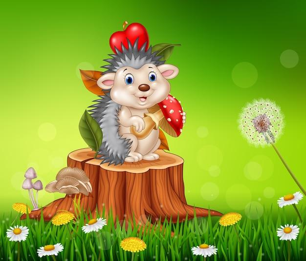 Lustiges Igel Der Karikatur Das Auf Baumstumpf Sitzt Download Der