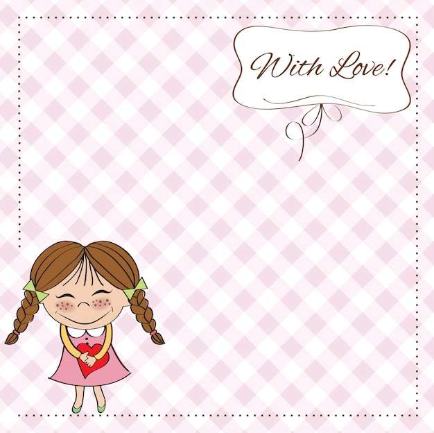 Lustiges mädchen verliebt in herz. doodle zeichentrickfigur für valentinstag Premium Vektoren