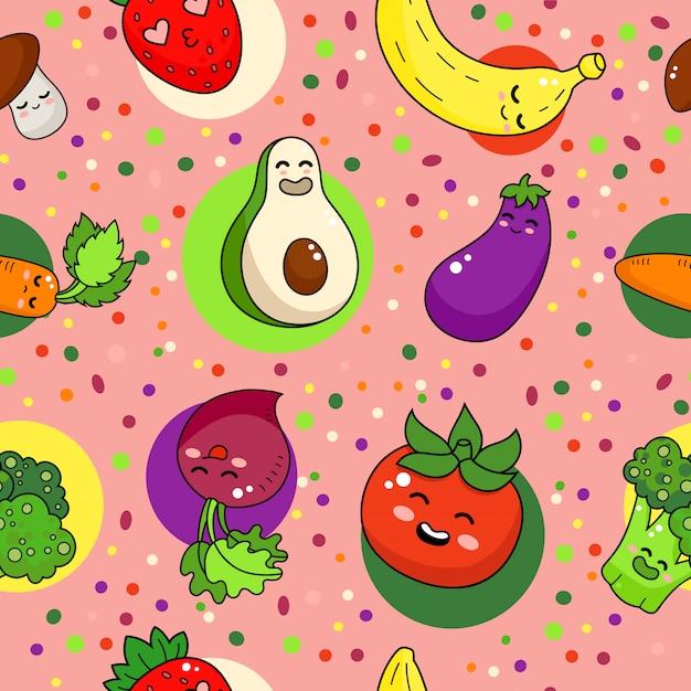 Lustiges nahtloses muster des gemüses. gesunde nahrungsmittelgekritzelillustration. Premium Vektoren