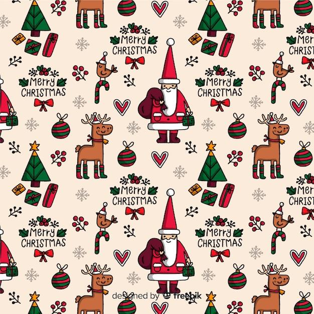 Lustiges weihnachtsmuster mit ren und weihnachtsmann Kostenlosen Vektoren