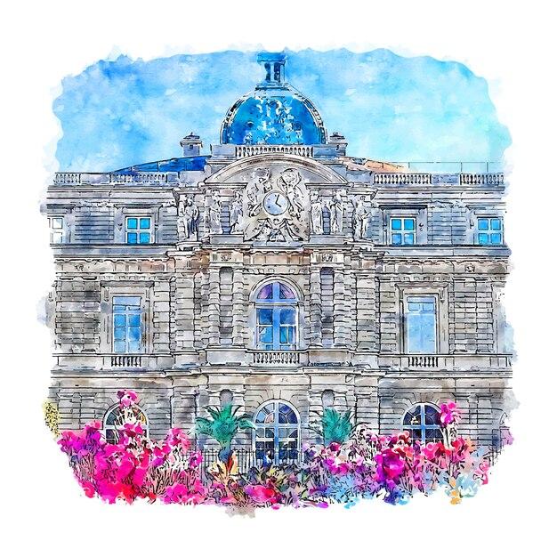 Luxemburg deutschland aquarell skizze hand gezeichnete illustration Premium Vektoren