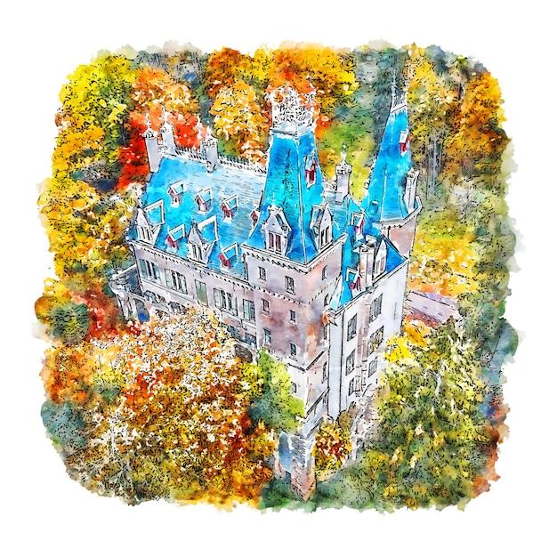 Luxemburg schloss frankreich aquarell skizze hand gezeichnete illustration Premium Vektoren