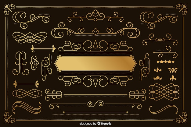 Luxuriöse goldene verzierungssammlung Kostenlosen Vektoren
