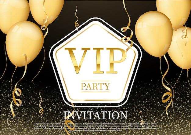 Luxuriöse und elegante party einladungskarte mit schönem bandgoldconfetti-glitter und goldballon Premium Vektoren