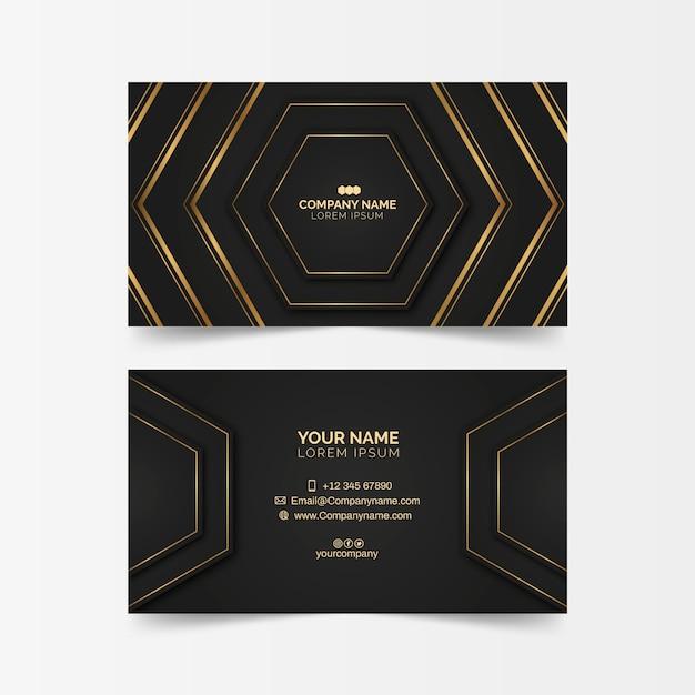 Luxuriöse visitenkarte mit goldenen formen Kostenlosen Vektoren