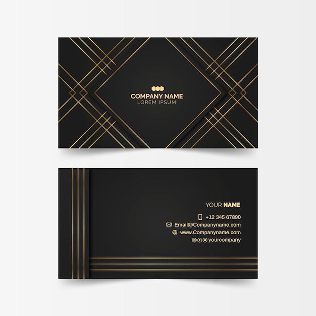 Luxuriöse visitenkarte mit goldenen linien Kostenlosen Vektoren