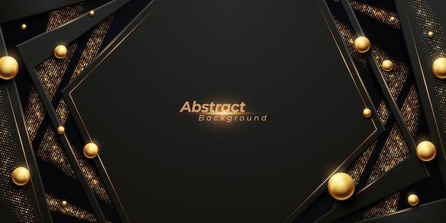 Luxuriöser abstrakter hintergrund mit leuchtenden goldstreifen, goldenem glanz und glänzenden ballperlen. Premium Vektoren