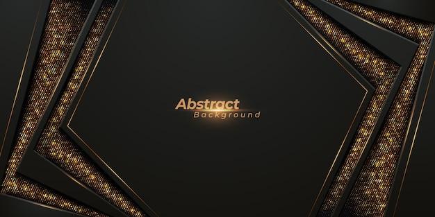 Luxuriöser hintergrund 3d mit leuchtenden goldstreifen und goldenem glanz. Premium Vektoren