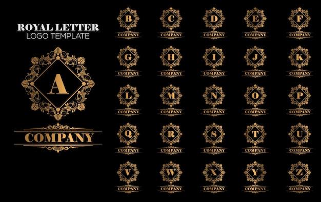 Luxuriöser königlicher weinlese-gold logo template vector Premium Vektoren