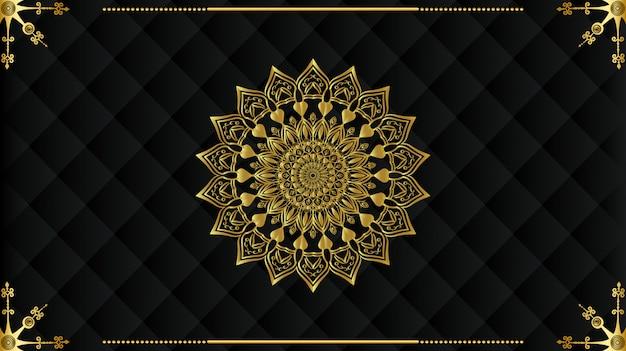 Luxuriöses arabisches mandala-hintergrunddesign Premium Vektoren