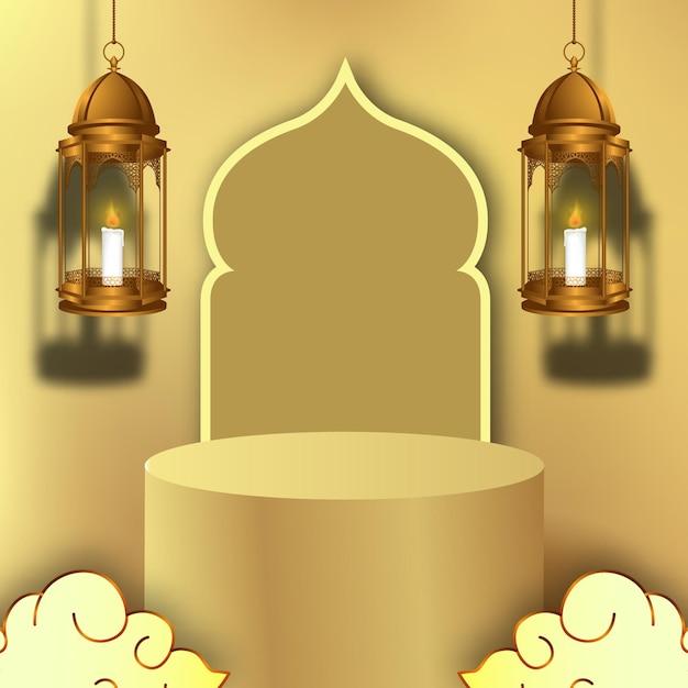 Luxuriöses elegantes ramadan-podium und goldene laternendekoration 3d Premium Vektoren