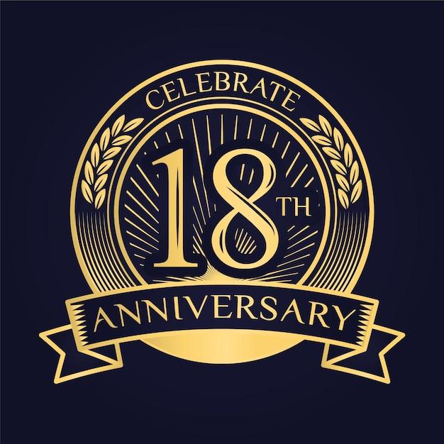 Luxuriöses logo zum 18. jahrestag Kostenlosen Vektoren