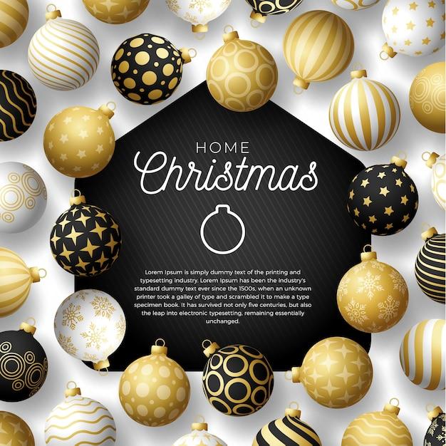 Luxury gold merry home weihnachtskarte mit lustigen minimalistischen weihnachtskugeln. zu hause bleiben abzeichen in quarantäne. reaktion. Premium Vektoren