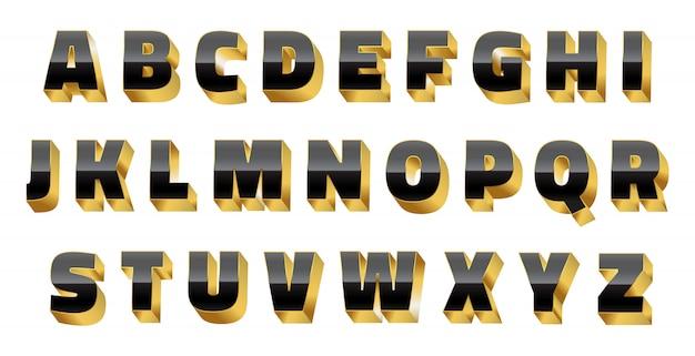 Luxus 3d alphabet Premium Vektoren