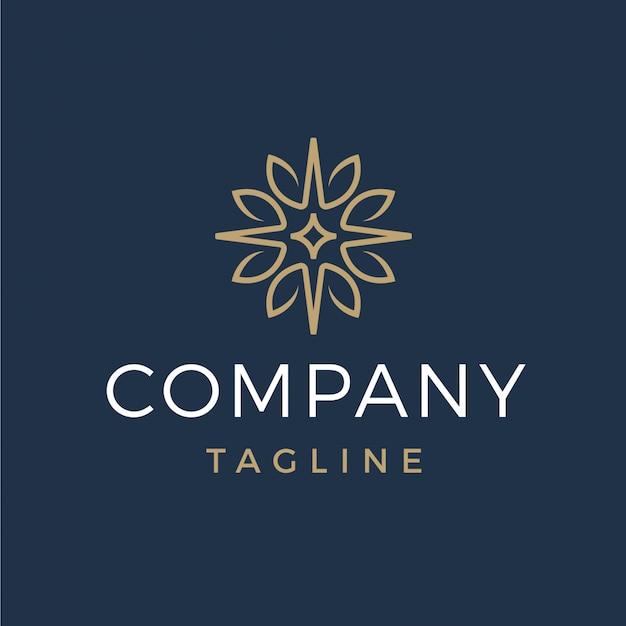 Luxus abstrakte blätter und stern-logo Premium Vektoren