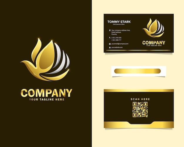 Luxus abstraktes vogel-logo mit briefpapier-visitenkartenschablone Premium Vektoren