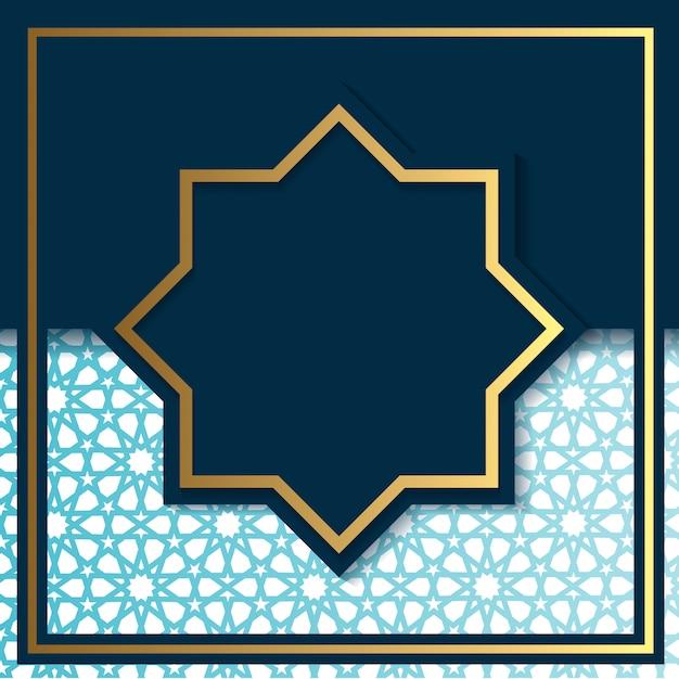 Luxus-art-deco-blau und goldhintergrundschablone Premium Vektoren