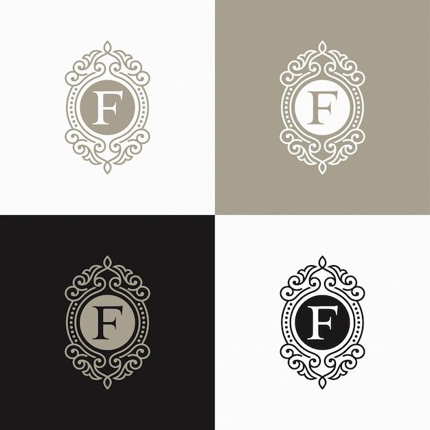 Luxus-brief-logo. einfaches und elegantes blumenmusterlogo, elegantes lineares luxusvektorlogodesign Premium Vektoren