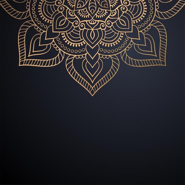 Luxus dekorativer mandala-designhintergrund im goldfarbvektor Premium Vektoren