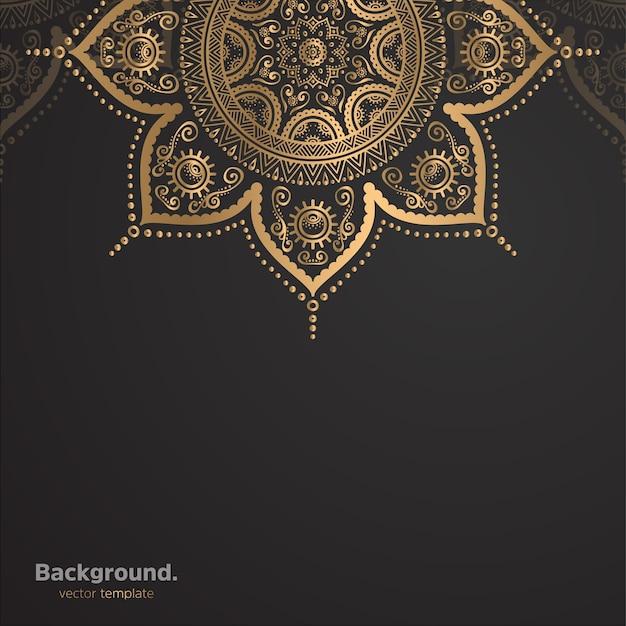 Luxus dekorativer mandala-designhintergrund in der goldfarbe Kostenlosen Vektoren