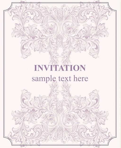 Luxus-einladungskarte. königliche viktorianische muster ornament Premium Vektoren