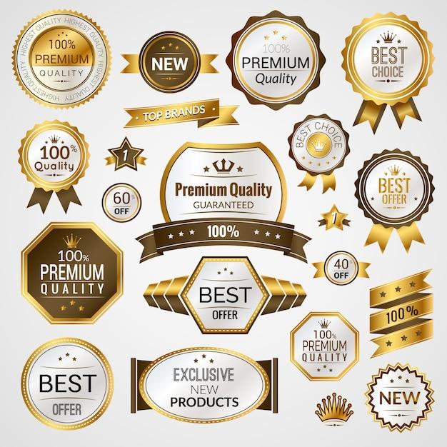 Luxus-etiketten gesetzt Premium Vektoren