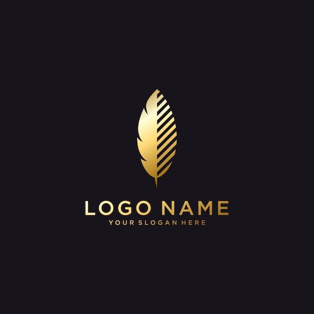 Luxus feder logo vorlage Premium Vektoren