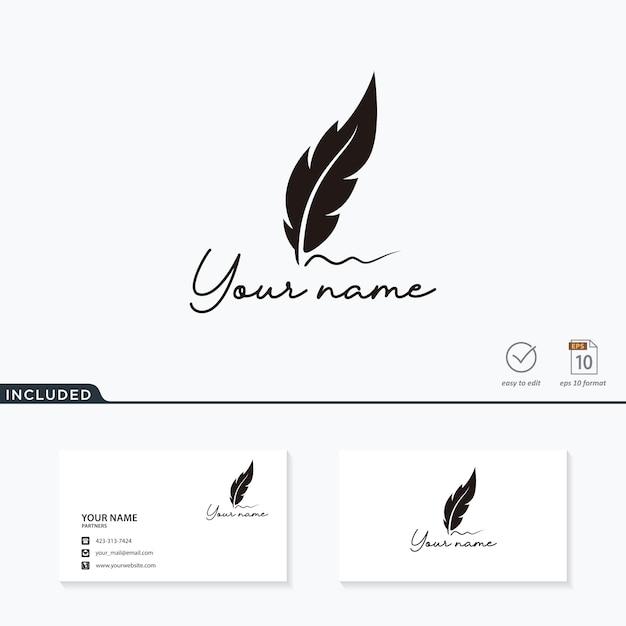 Luxus-feder-logo Premium Vektoren