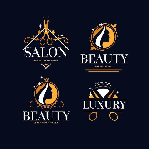 Luxus-friseursalon-logo-sammlung Kostenlosen Vektoren