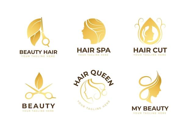 Luxus-friseursalon-logo-set Kostenlosen Vektoren