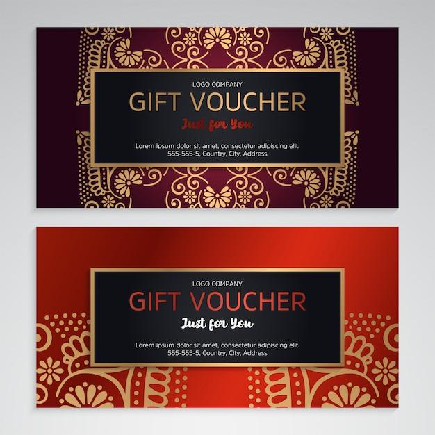 Luxus-geschenkgutschein-vorlage mit ethnischen stil Kostenlosen Vektoren