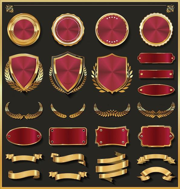 Luxus gold und silber design elements sammlung Premium Vektoren