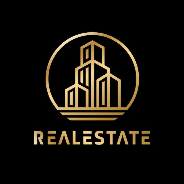 Luxus golden immobilien logo Premium Vektoren