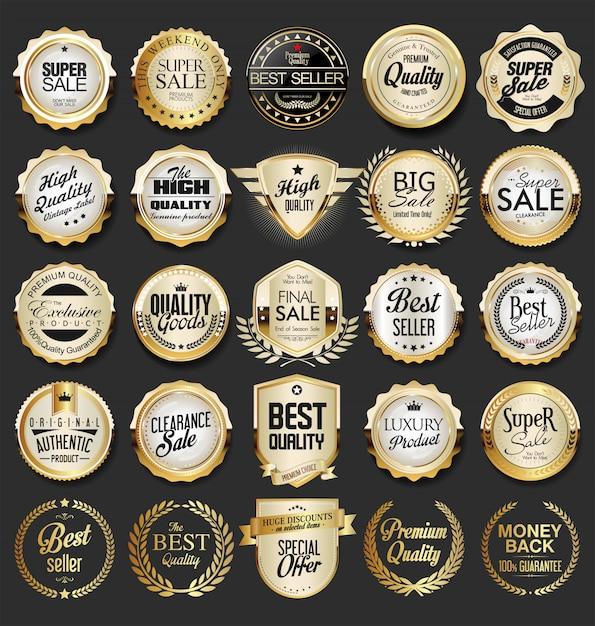 Luxus goldene abzeichen sammlung Premium Vektoren