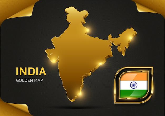 Luxus goldene karte indien Premium Vektoren