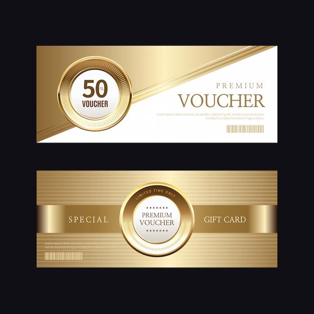 Luxus goldenen abzeichen und etiketten, gutschein-karte Premium Vektoren