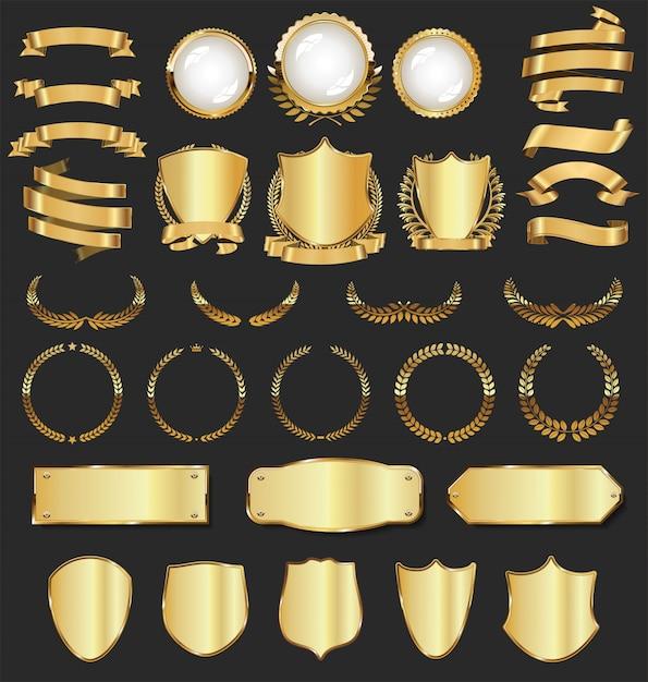 Luxus goldenen abzeichen und etiketten Premium Vektoren