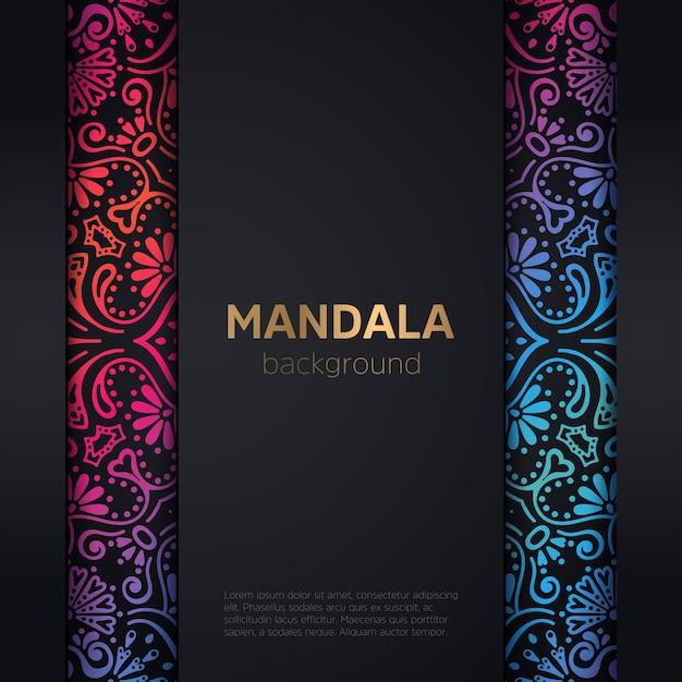 Luxus Hochzeitseinladung mit Mandala Kostenlose Vektoren