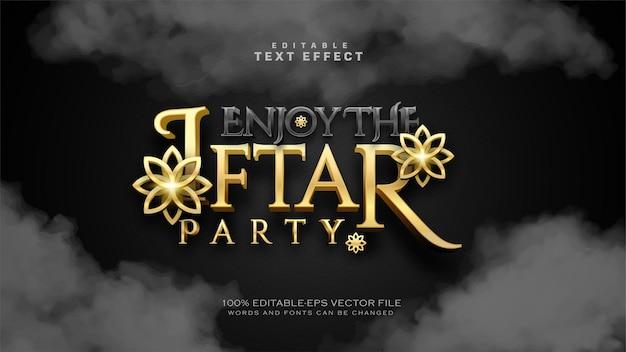 Luxus-iftar-party-texteffekt Premium Vektoren