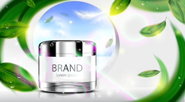 Luxus kosmetikflasche paket hautpflegecreme mit blättern auf weiß Premium Vektoren