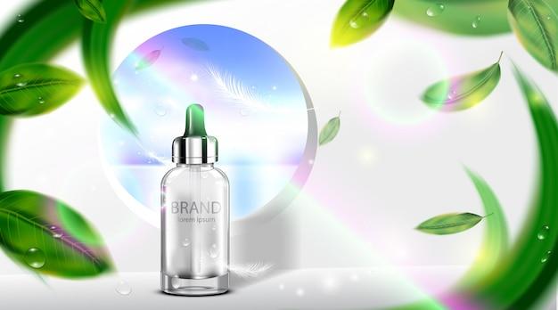 Luxus kosmetikflasche paket hautpflegecreme mit blättern Premium Vektoren