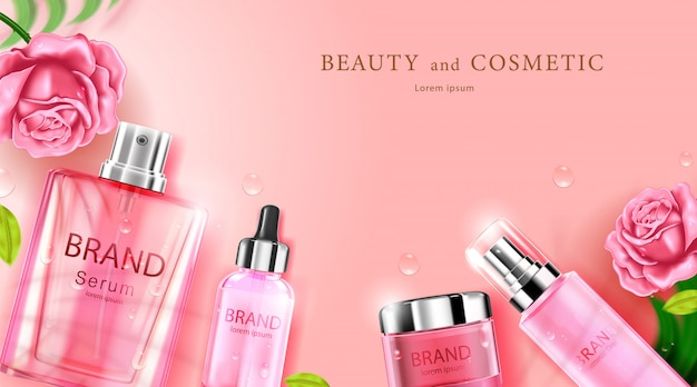 Luxus kosmetikflasche paket hautpflegecreme Premium Vektoren