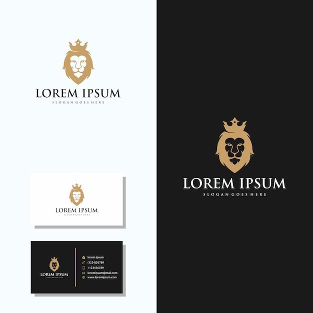 Luxus-löwe-kopf-logo mit visitenkarte logo design Premium Vektoren